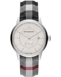 Burberry Plaid Stainless Steel Watch silver - Lyst