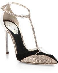 Rene Caovilla Embellished Mixed-Media T-Strap Pumps - Lyst