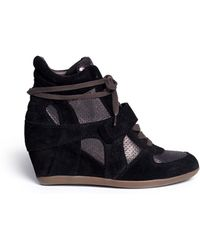 Ash Bowie Metallic Suede Wedge Sneakers - Lyst