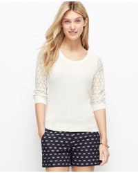 Ann Taylor Embroidered Sleeve Top - Lyst