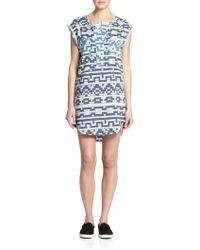Townsen Printed Cap-Sleeve Shift Dress - Lyst