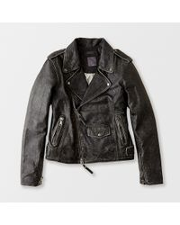 Lot78 Box Fit Leather Biker Jacket - Lyst