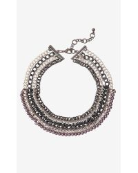 Express Woven Pearl and Curb Chain Collar Necklace - Lyst