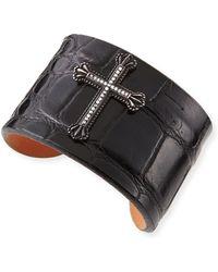 Katie Design Jewelry - Black Crown The Cross Alligator Cuff With Diamonds - Lyst