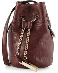 Halston Heritage Chain Handle Leather Mini Bucket Bag - Lyst