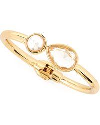 Lydell NYC - Pearly Bead & Rhinestone Golden Bracelet - Lyst