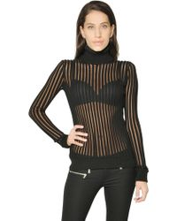 Diesel Black Gold Striped Wool Blend Turtleneck Sweater - Lyst