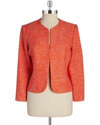 Anne Klein Tweed Open Front Blazer - Lyst