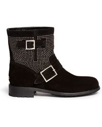 Jimmy Choo Youth' Micro Stud Suede Boots - Lyst