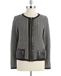 Jones New York Striped Zip-Up Knit - Lyst