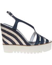 Paloma Barceló Stripe Heel Wedge Sandals - Lyst