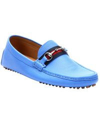 Gucci Pond Blue Leather Horsebit Drivers - Lyst