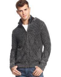 Guess Dawson Mix-stitch Hooded Sweater - Lyst