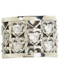 King Baby Studio Heart Patterned Ring with Cz Stones - Lyst