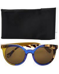 Fendi Tri-colour Round-framed Sunglasses - Lyst