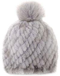 Pologeorgis - The Knit Mink Light Grey Hat With Fox Pompom - Lyst