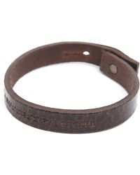 Diesel Amisto Engraved Aged Brown Leather Bracelet - Lyst
