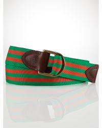 Polo Ralph Lauren Striped Grosgrain-Ribbon Belt - Lyst