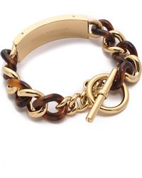 Michael Kors Curb Chain Plaque Toggle Bracelet Goldtortoise - Lyst