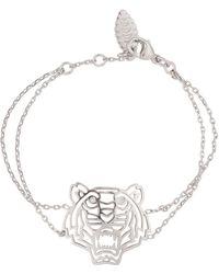 KENZO - Silver Tone Cut-Out Tiger Bracelet - Lyst