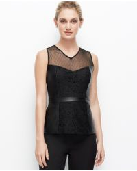 Ann Taylor Petite Faux Leather and Lace Shell - Lyst