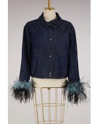 Prada - Feathers Denim Jacket - Lyst