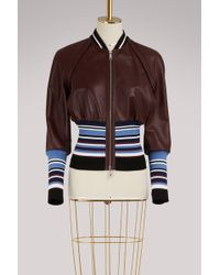 Sportmax - Juditta Leather Bomber Jacket - Lyst