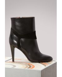 Michel Vivien - Ofelia Leather And Calf Ankle Boots - Lyst
