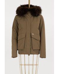 Woolrich - Short Fur-lined Bomber Jacket - Lyst