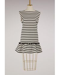 Marc Jacobs - Pompom-embellished Striped Cotton-jersey Mini Dress - Lyst