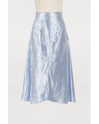 Nina Ricci - Crinkled Satin Midi Skirt - Lyst