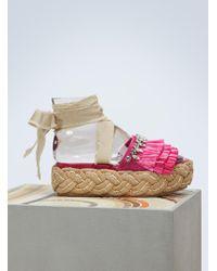 Miu Miu - Raffia Sandals - Lyst