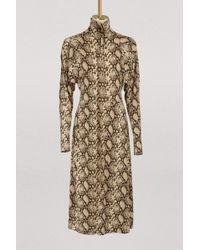 Céline - Mock Neck Dress In Snake Printed Crepe Jersey - Lyst