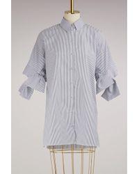 Victoria, Victoria Beckham - Cotton Striped Bow Sleeve Shirt - Lyst