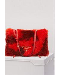 Prada - Shearling Shoulder Bag - Lyst