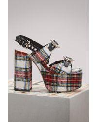 Miu Miu | Multicolor Tartan Platform Sandals | Lyst
