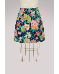 MSGM - Denim Flowers Skirt - Lyst