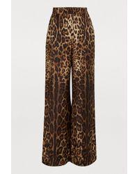 Dolce & Gabbana Leopard-print Crepe De Chine Wide-leg Trousers
