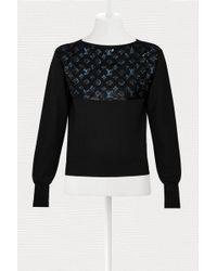 Louis Vuitton Jumper With Monogram Embroideries - Black