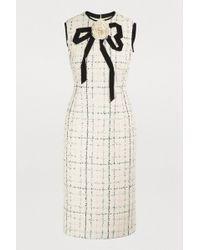 Gucci - Grosgrain Bow Cotton Blend Bouclé Tweed Dress - Lyst