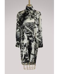 Céline - Silk Tunic Top With 'factory' Print - Lyst
