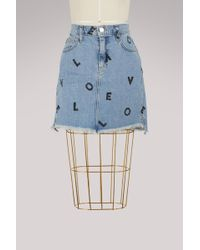 Current/Elliott - High-waisted Printed Denim Skirt - Lyst