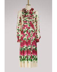 Gucci - Rose Garden Print Silk Dress - Lyst