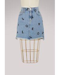 Current/Elliott - High-waisted Printed Denim Skirt - Lyst