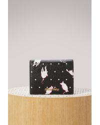 Miu Miu - Cat Print Wallet - Lyst