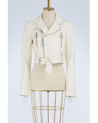 Off-White c/o Virgil Abloh - Cropped Leather Biker Jacket - Lyst