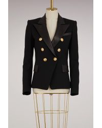 Balmain - Wool Jacket With Leather Collar - Lyst