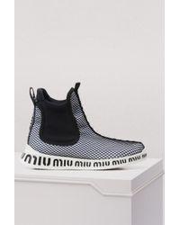 Miu Miu - Miu Sole High Sock Sneakers - Lyst