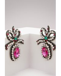 Gucci - Crystal Embroidered Bow Earrings - Lyst