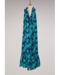 Lanvin | Georgette Silk Printed Long Dress | Lyst